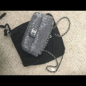 Chanel sequin single flap silver grey